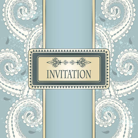 invitation template eastern  pattern and place for your text on  grungy background  Vector