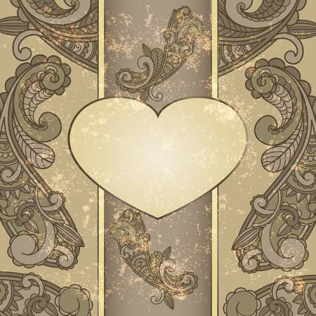 vector heart with paisley pattern and place for your text on  grungy background  Vector