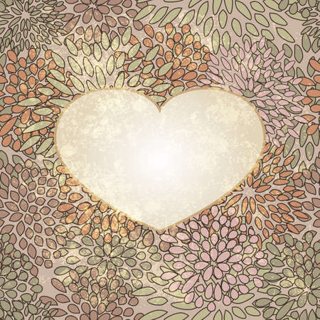 vector heart on  seamless floral background on grunge background Stock Vector - 12068745