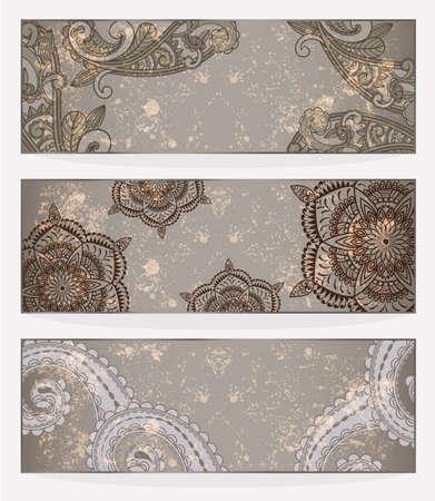 ペルシア: 3 つのベクトルのペイズリー柄と汚れた背景にあなたのテキストのための場所とバナー  イラスト・ベクター素材