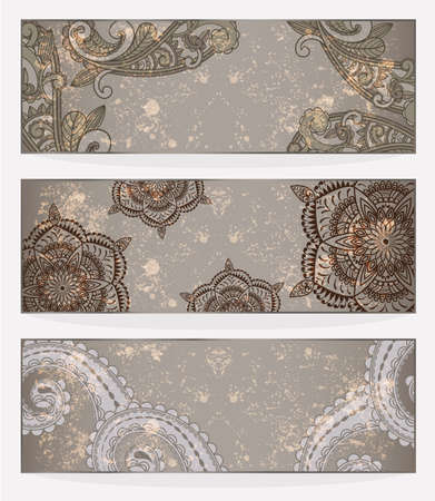 three vector banners with paisley pattern and place for your text on  grungy background  Vector