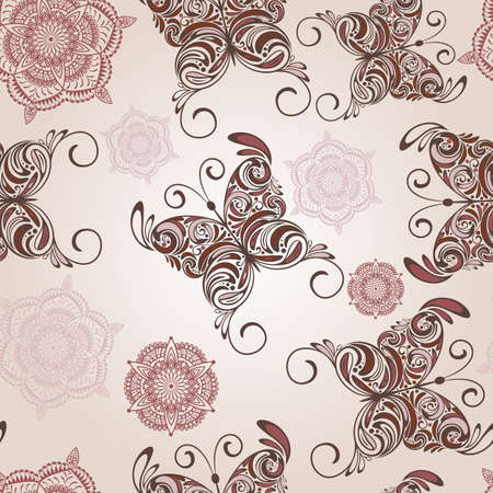 pink wall paper: vector seamless pattern with   hand drawn butterflies and abstract flowers