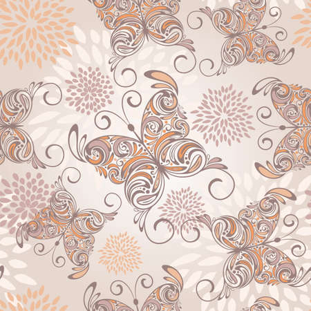 vector seamless pattern with   hand drawn butterflies and abstract flowers Vector