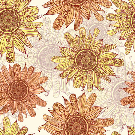 vector hand drawn sunflower seamless pattern Vector
