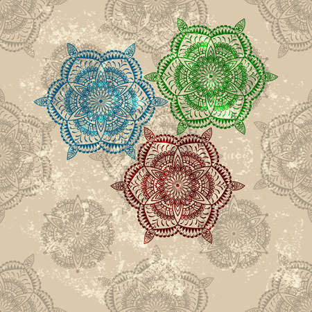 vector three abstract flowers on  seamless wallpaper  Vector