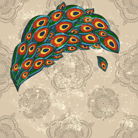 vector peacock feathers on  seamless wallpaper