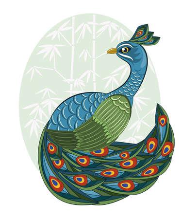 vettore di pavone in stile cinese su sfondo di bambù Vettoriali