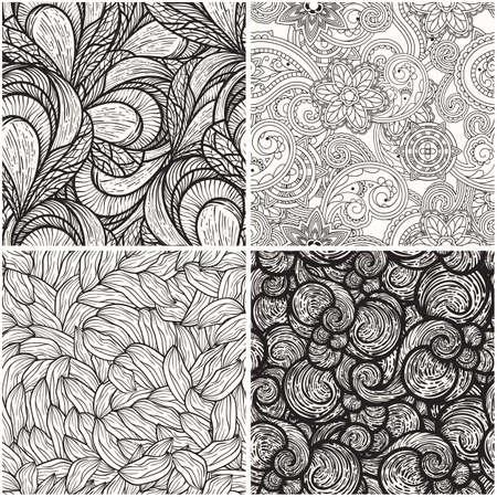 dibujos lineales: vector de conjunto con los patrones de blanco y negro sin fisuras Vectores