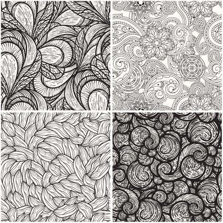 flower line: vector set with monochrome seamless  patterns