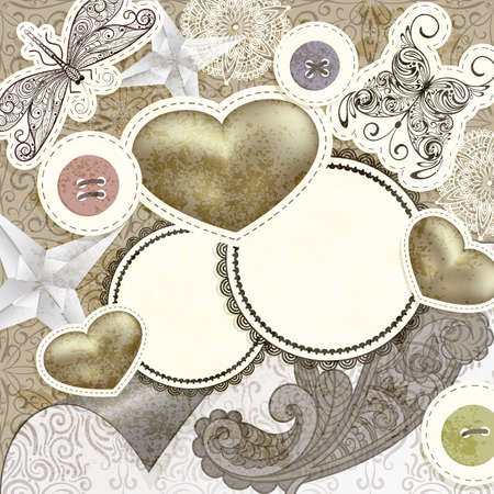 vector vintage scrap template design with hearts, for valentines day, clipping mask, elements can be used separately