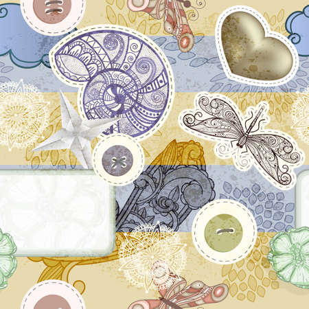 separately: vector seamless vintage scrap template spring  design, clipping masks, elements can be used separately