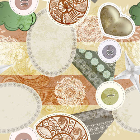 vector seamless vintage scrap template design, clipping masks, elements can be used separately