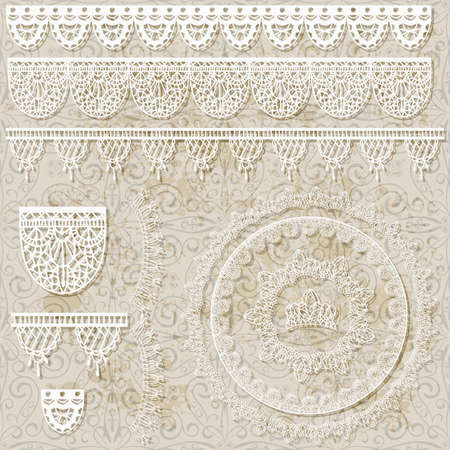 vector lacy scrapbook design patterns on seamless grungy background, brushes included Vector
