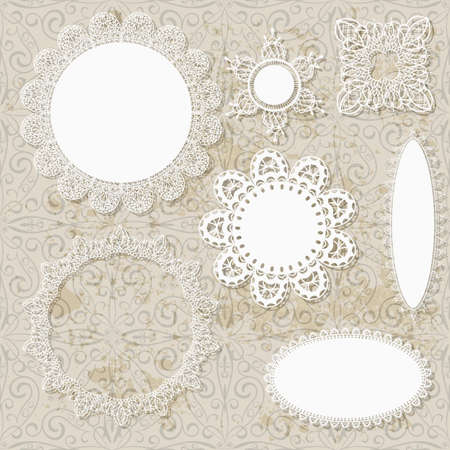 retro lace: vector lacy scrapbook napkin design patterns on seamless grungy background