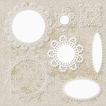 doilies: vectores del libro de recuerdos de encaje patrones de dise�o de la servilleta sobre fondo sucio sin fisuras