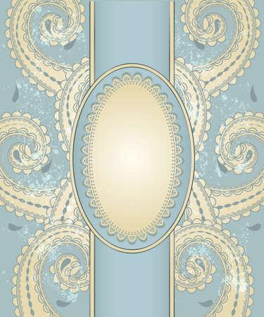 template vecteur avec motif oriental et le lieu de votre texte sur fond grungy