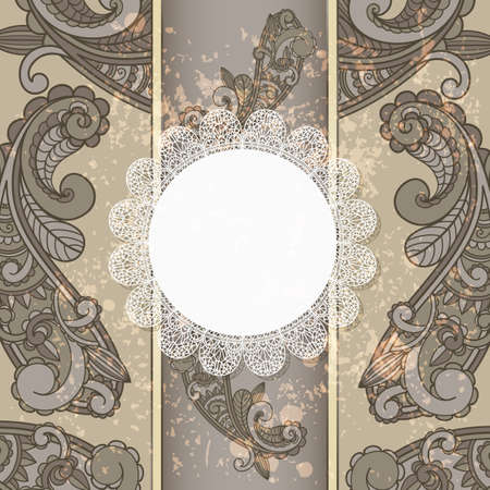 vector menu with paisley pattern and napkin for your text on  grungy background