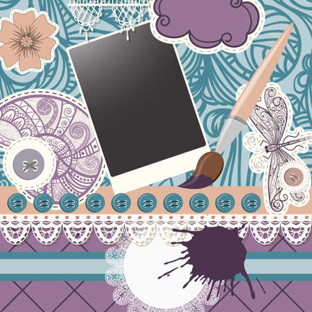 vector scrapbook design pattern on seamless  background. includes elements that can be used separately:photo frame, brush, snail, dragonfly, buttons, cloud, napkin, and flower Vector