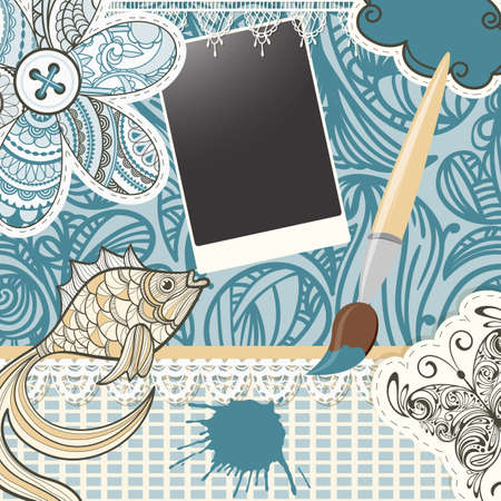 vector scrapbook design pattern on seamless  background. includes elements that can be used separately:photo frame, brush, fish,  butterfly, button, cloud, napkin, and flower Vector