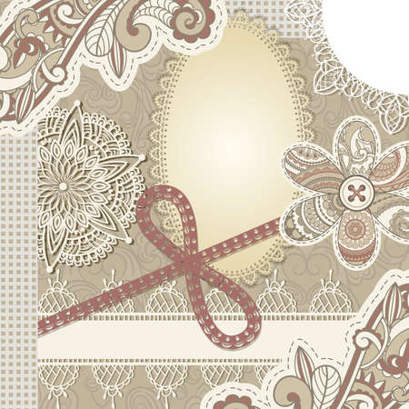 vector vintage scrap template design, clipping mask, elements can be used separately, includes photo frame, baw, flower, laces, buttons, and paisley elements Illustration