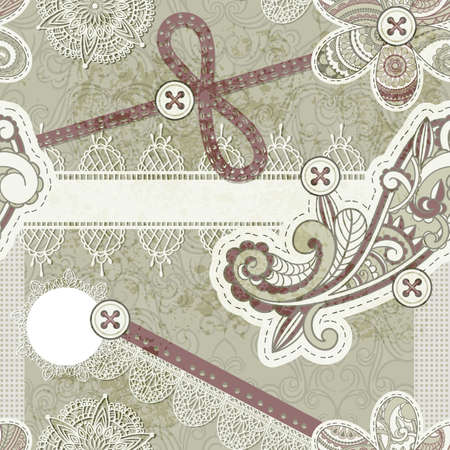 vector seamless vintage scrap template design, clipping mask, elements can be used separately, includes photo frame, baw, flower, laces, buttons, origami star,  laces, cloud, and paisley elements Vector