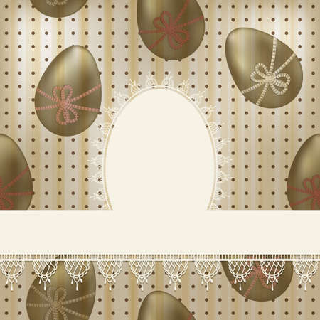 white napkin: vector vintage easter greeting card: white lacy napkin on  seamless pattern with olden eggs and dots Illustration