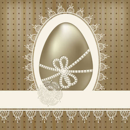 vector vintage easter greeting card with golden egg and lacy napkin Vector