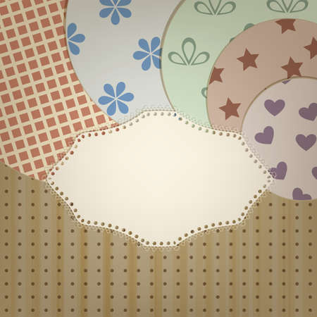 ine: vector lacy napkin abd circle retro  patterns on seamless background with stripes and dots, clipping mask, patterns can  be used separately Illustration