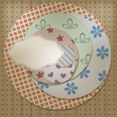 separately: vector lacy napkin on retro circle patterns, can be used separately