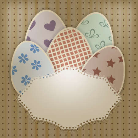 ine: vector  easter greeting card with retro eggs abd lacy napkin