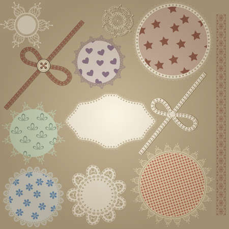 table scraps: vector scrapbook design elements,  patterns can  be used separately: bows, button, napkins, and border