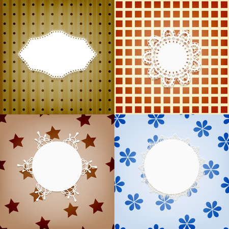 ine: set of four vector lacy napkins on retro seamless  patterns, can be used separately Illustration