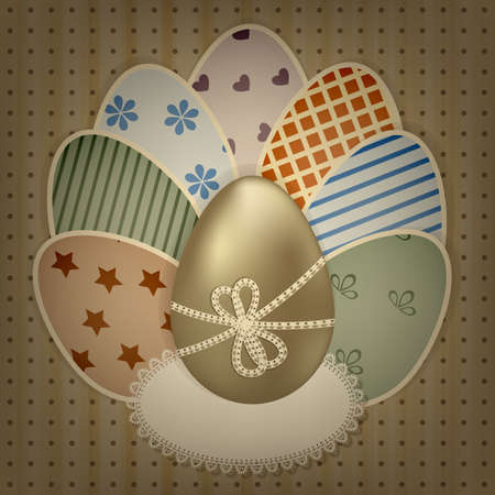 ine: vector  easter greeting card with golden and retro colorful eggs on lacy napkin