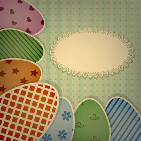 vector  easter greeting card with  retro colorful eggs on lacy napkin Vector
