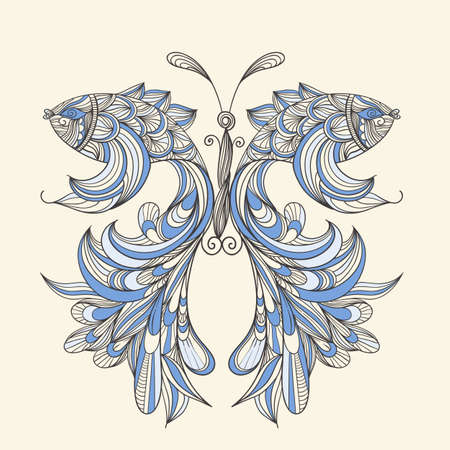 hair feathers: vector concept butterfly with wings - fishes, fishes can be used separately   Illustration