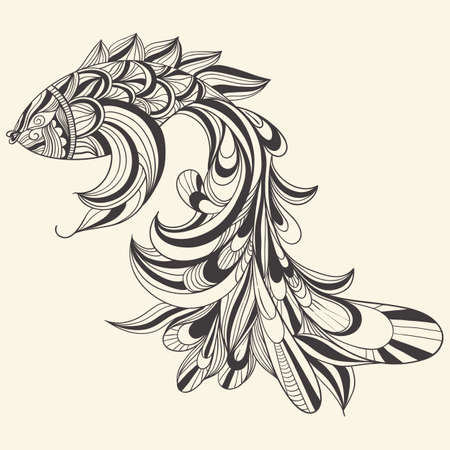 hair ornament: vector concept monochrome fish