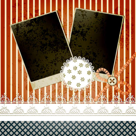vector scrapbook template design with two frames, bow, button and laces, elements  can be used separately Vector