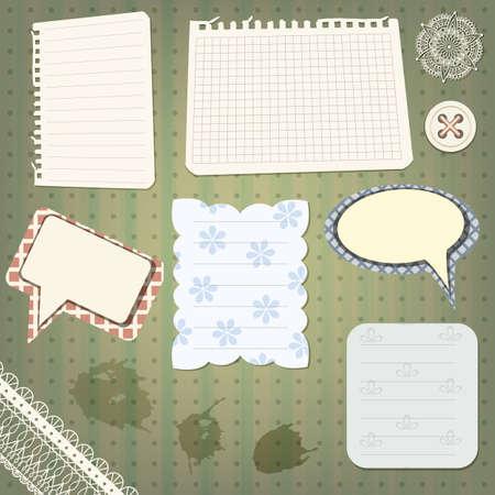 speach: vector set of scrapbook design elements  vintage papers, splashes lacy border, speech bubbles, button , and flower
