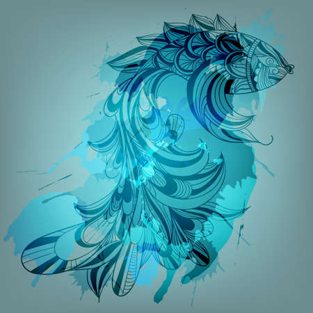 sea creature: vector background with blue fish and grungy splashes