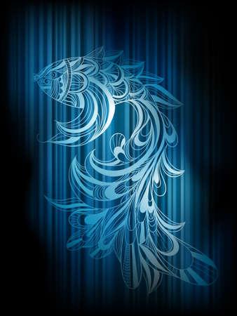 squama: vector concept monochrome fish on dark blue striped background