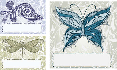 vector set with  hand drawn butterfly, dragonfly, and fish vintage style, frames for your text Vector