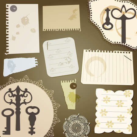 pices: vector scrapbook design elements  vintage key, torn pices of paper, splashes of coffee, napkins