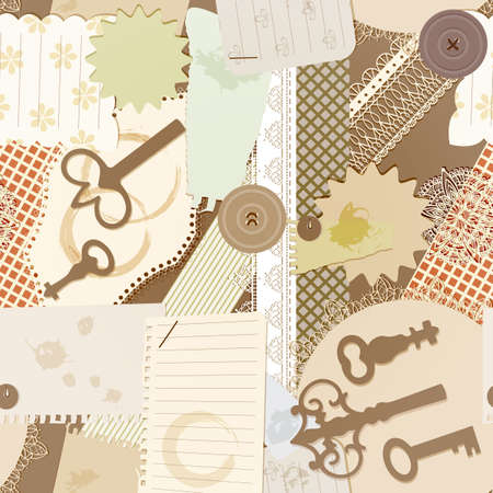 vector seamless pattern with scrapbook design elements  vintage key, torn pieces of paper, splashes of coffee, napkins Vector