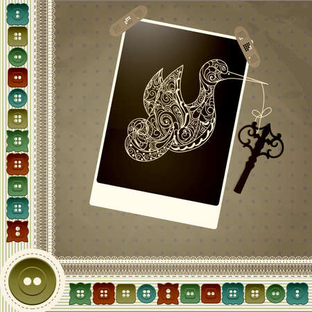 allegorical: allegorical vector composition with bird and key with a frame with stripes, buttons and laces