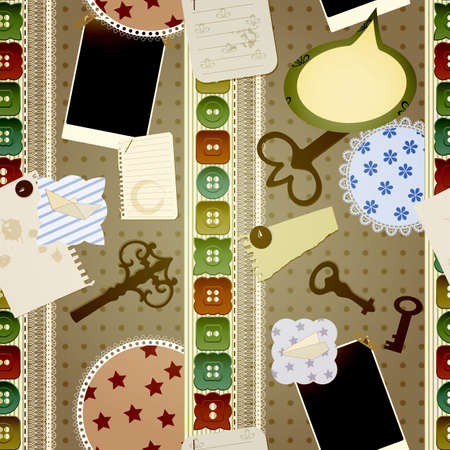 vector seamless scrapbook design  contains  vintage keys, buttons, photoframes, pins, laces, napkins, torn pieces of paper, splashes of coffee,origami airplane and ship Vector