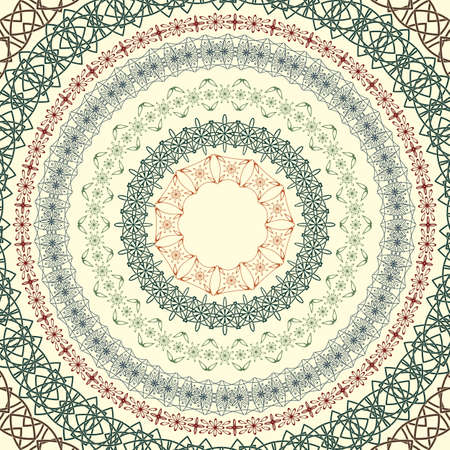 floral tracery: set  of vector circle vintage patterns, based on seamless borders, can be used separately, brushes included Illustration