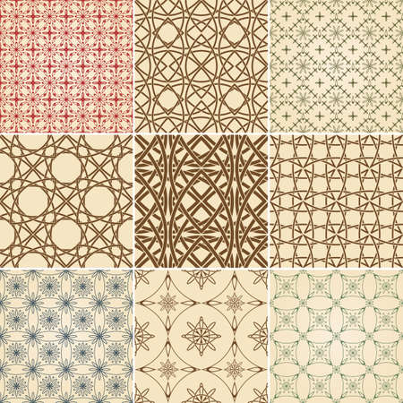 set of nine vector seamless patterns, can be used separately as textile, wrapping paper or any other decoration Vector