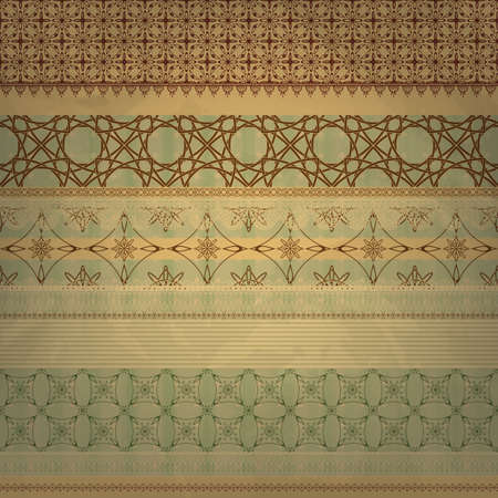 old notebook: vector scrap template, vintage seamless patterns, can be used separetely, old paper texture Illustration
