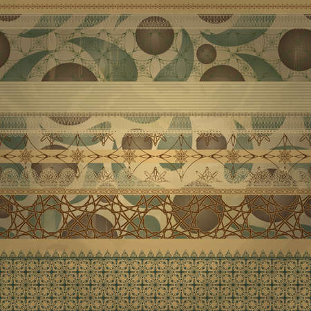vector  retro seamless  patterns on abstract seamless background on old paper texture Vector