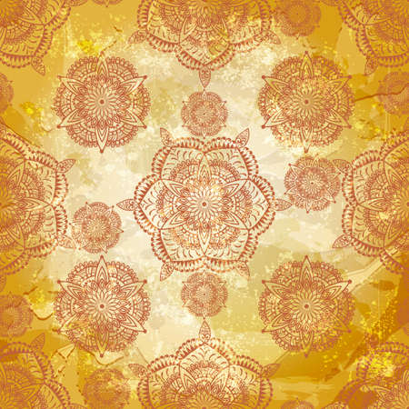 vector spring retro seamless floral pattern on abstract background with grungy blots, old paper texture,  Vector